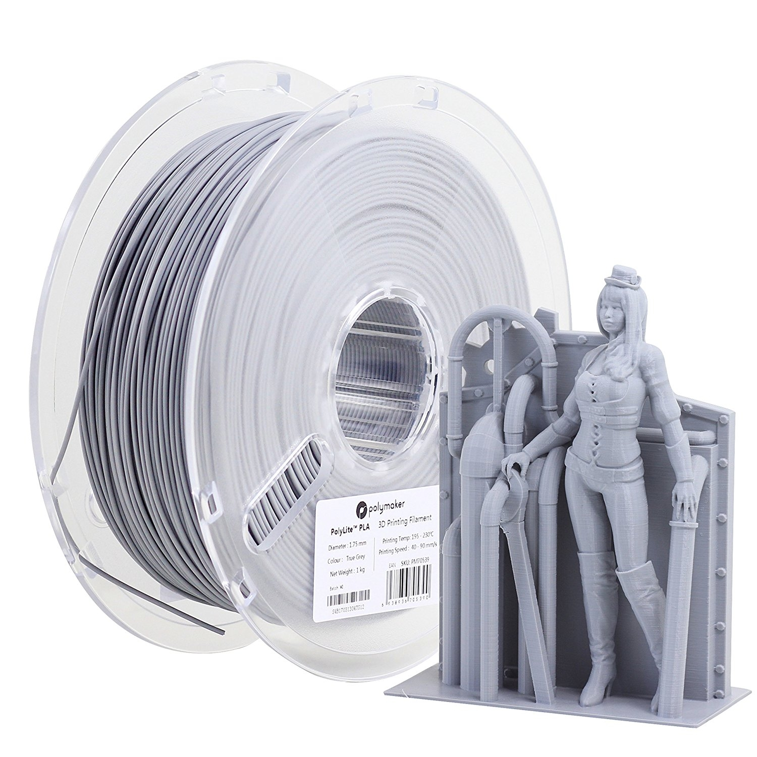 Polymaker PolyLite True Grey PLA 1.75 mm 1kg
